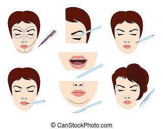 Facial cosmetic surgery icons - Facial cosmetic surgery...