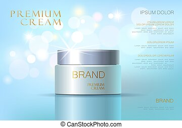 Facial cream glass jar realistic vector illustration...