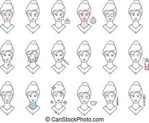 facial, exfolier, vecteur, icônes, masque, collection, spa,...