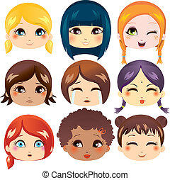 Facial Expression Collection - Set of nine facial ...