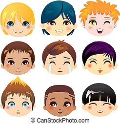 Facial Expression Collection - Set of nine facial ...