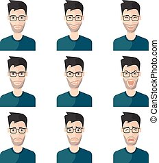 Facial Expression Man Icon Set - Facial expression man icon...