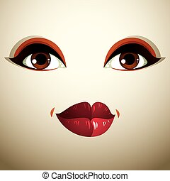 Facial expression of a young pretty woman. Coquette lady visage, human eyes and lips.