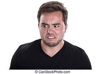 Facial Expression of Male Looking Disgusted - Close up of...