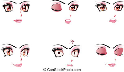 Facial Expression of Woman - Different cartoon female facial...