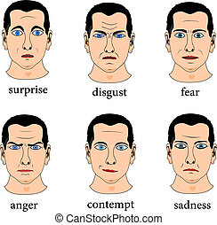 Facial expression - Six facial expression on male face