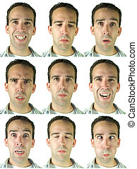 Facial Expressions - Collection of nine different facial...