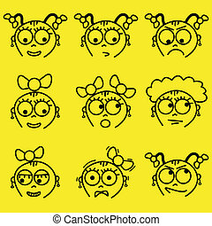 facial expressions - set of cartoon girl facial expressions