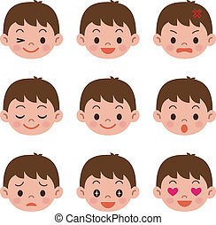 Facial expressions of boy