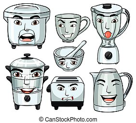 Facial expressions on many home appliances
