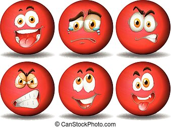 Facial expressions on red ball