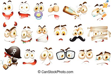 Facial expressions on white background illustration