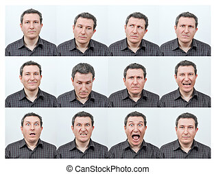 Short haired young man, and facial expressions