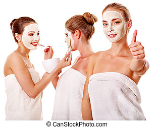 facial, femmes, mask., groupe