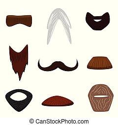 Facial hair set. - Vector illustrated cartoon facial hair...