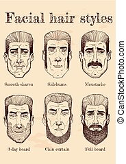 Facial hair styles - Vector illustration of facial hair...
