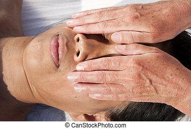 facial, japoneses, massagem