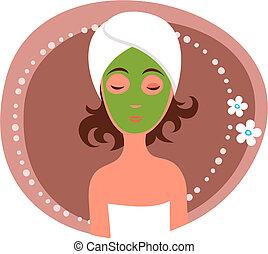 Facial mask - Cute woman receiving a facial mask treatment
