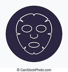Facial mask flat line icon design. Face health care beauty. Cosmetic spa product for clean skin