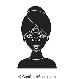 Facial mask icon in black style isolated on white background. Skin care symbol stock vector illustration.