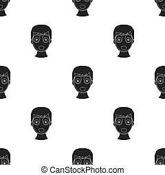 Facial mask icon in black style isolated on white background. Skin care pattern stock vector illustration.
