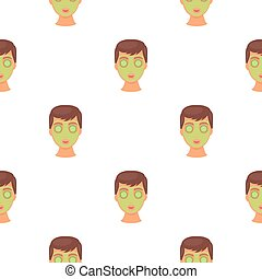 Facial mask icon in cartoon style isolated on white background. Skin care pattern stock vector illustration.