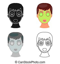 Facial mask icon in cartoon style isolated on white background. Skin care symbol stock vector illustration.