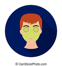 Facial mask icon in flat style isolated on white background. Skin care symbol stock vector illustration.