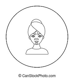 Facial mask icon in outline style isolated on white background. Skin care symbol stock vector illustration.