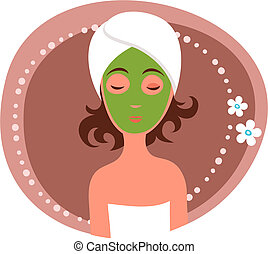 Facial mask - Cute woman receiving a facial mask treatment