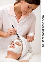 Facial mask - Woman at beauty salon