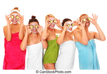 Facial masks - A picture of five girl friends having fun ...