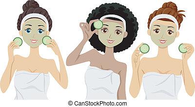 Facial Masks - Illustration of Women Wearing Clay Masks on...