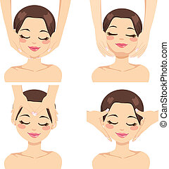 Collection of four different facial massage techniques on beautiful brunette young woman isolated on white background