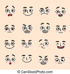 Facial mood expression icons set of laugh fun and happiness isolated vector illustration