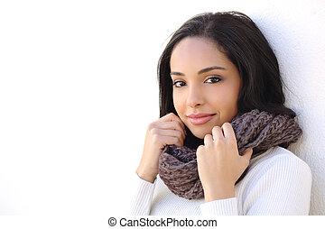 Facial of a sexy woman smooth face in winter