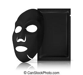 facial, paquet, masque, packaging., noir, produits de beauté, fond, conception, visage blanc