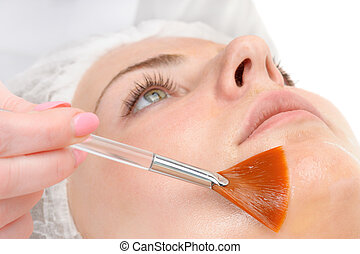facial peeling mask applying - beauty salon, facial peeling ...