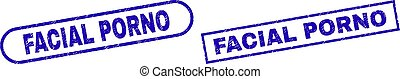 FACIAL PORNO Blue Rectangle Watermark with Rubber Style - ...