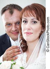 Facial portrait of Caucasian bride and groom