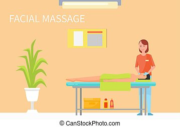 Facial Procedures and Massage Technique Vector