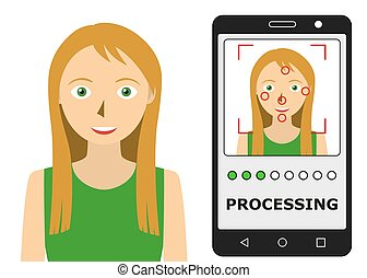 Facial recognition. Face scanning authentication. Biometric identification. Face scanner technology. Vector illustration