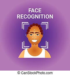 Facial Recognition Biometrics Scanning Of African American...