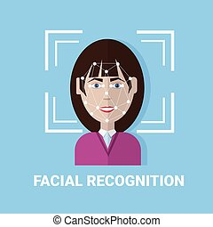 Facial Recognition Biometrics Scanning Of Female Face Icon ...