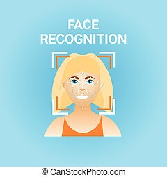 Facial Recognition Biometrics Scanning Of Female Face Icon...
