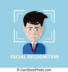 Facial Recognition Biometrics Scanning Of Male Face Icon...