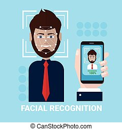 Facial Recognition Concept Hand Holding Smartphone Scanning...