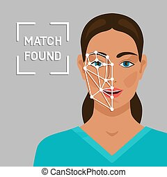 Facial recognition concept with a female face
