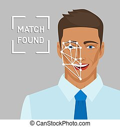 Facial recognition concept with male face