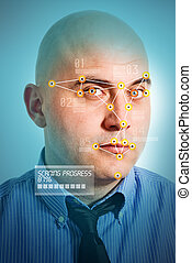 Facial recognition - Face detection software recognizing a...